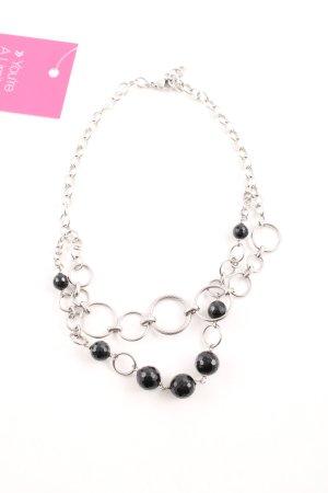 Morellato Collier incrusté de pierres argenté-noir style d'affaires