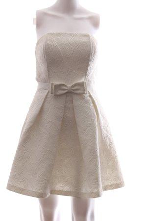 Morgan Vestido bustier crema estampado con diseño abstracto elegante
