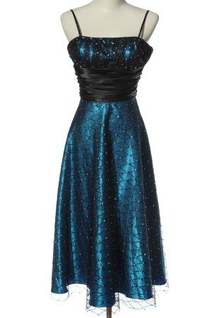 Morgan & Co. by Linda Bernell Robe de bal bleu-noir imprimé allover élégant