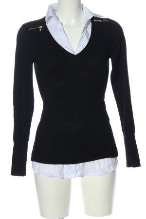 Morgan Sudadera de punto fino negro-blanco look casual