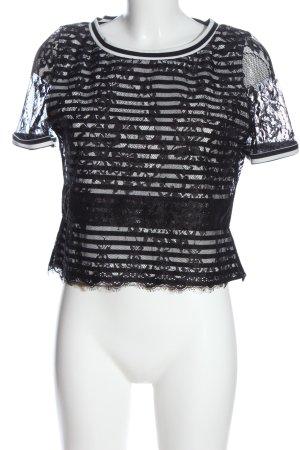 Morgan Kurzarm-Bluse schwarz Blumenmuster Elegant