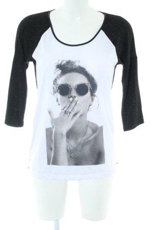 Morgan Longshirt schwarz-weiß Motivdruck Casual-Look
