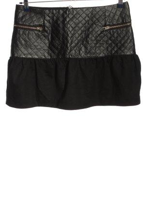Morgan Mini-jupe noir motif de courtepointe style décontracté