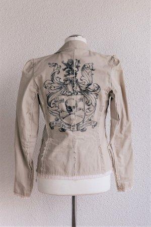 Morphine Collection Jacke Blazer Jeansstoff beige Print Gr. M S 36/38