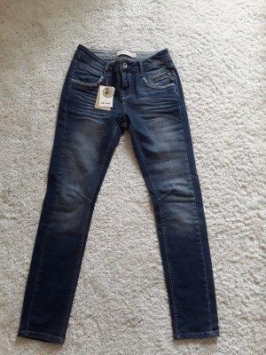Mos Mosh Jeans taille basse bleu azur-gris ardoise coton