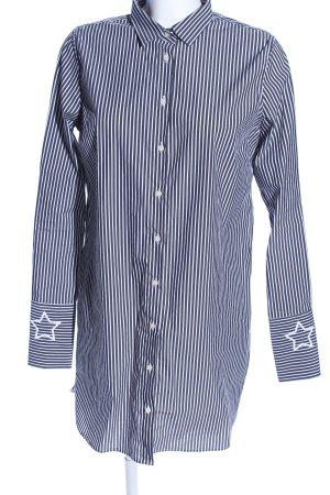 Mos Mosh Vestido tipo blusón azul-blanco estampado a rayas look casual
