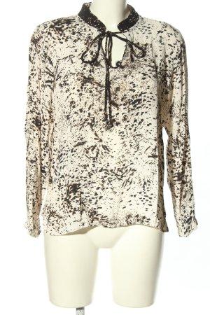 Mos Mosh Langarm-Bluse weiß-schwarz abstraktes Muster Casual-Look