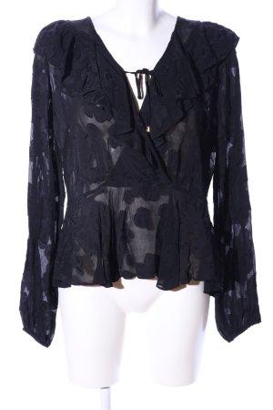 Mos Mosh Langarm-Bluse schwarz Blumenmuster Elegant