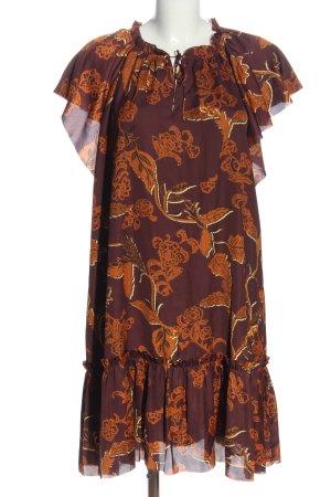 Mos Mosh Robe chemisier brun-orange clair imprimé allover style décontracté