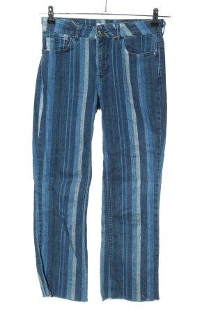 Mos Mosh Straight-Leg Jeans blau-hellgrau Streifenmuster Casual-Look