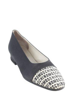 Moschino Ballerinas mit Spitze schwarz-creme Schriftzug gestickt Casual-Look