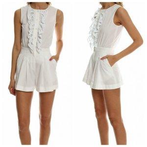 Boutique Moschino Kurzer Jumpsuit biały Bawełna