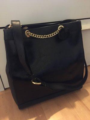 Moschino Boutique Tasche Schultertasche Shopper schwarz Leder/Lackleder neuwertig