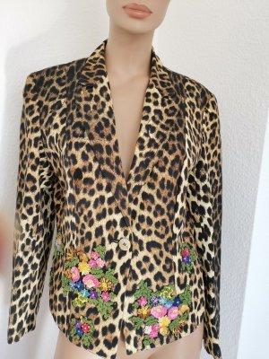 Moschino Cheap and Chic Vintage Blazer Leo-Muster bestickt Blumen Gr. 44