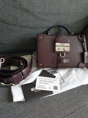Moschino Crossbody Original Umhängetasche Leder Lila Violett Silber Tasche Luxus