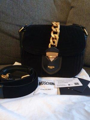Moschino Crossbody Tasche Schultertasche schwarz gold ungetragen samt Leder