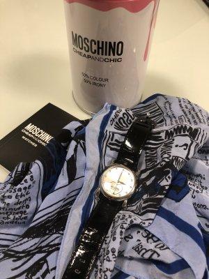 MOSCHINO Cheap & Chic Zegarek ze skórzanym paskiem czarny-srebrny
