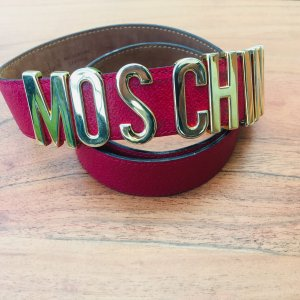 Moschino Belt Buckle carmine-gold orange leather