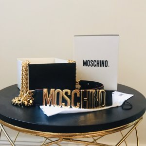 Moschino Cintura con catena nero-oro