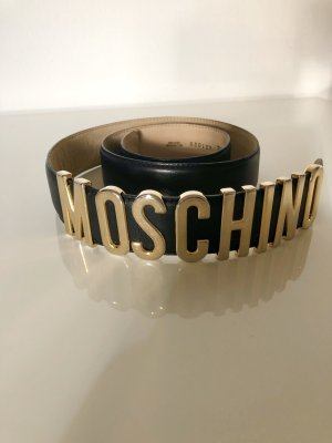 Moschino Leather Belt black-gold-colored
