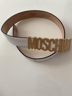 Moschino Lederen riem wit-goud Leer