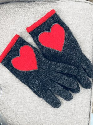 Love Moschino Knitted Gloves anthracite-red