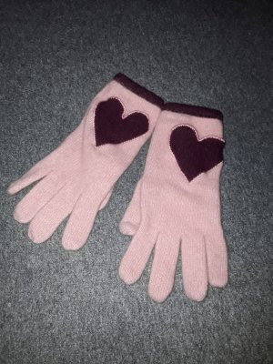 Moschino Knitted Gloves pink-carmine angora wool