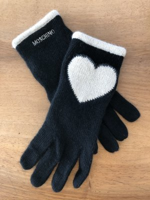 Moschino Gants en tricot noir-blanc laine angora