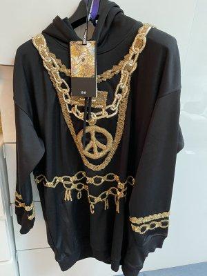 h&m moschino Sweter oversize czarny-piaskowy brąz