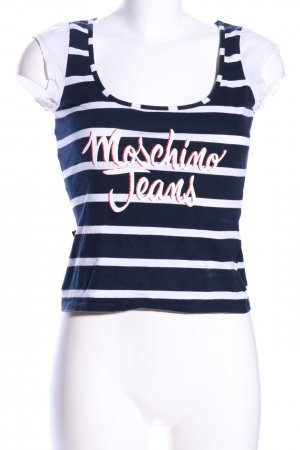 Moschino Jeans Frill Top blue-white embroidered lettering casual look