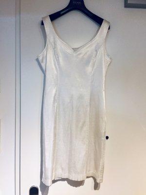 Moschino Jeans: Sportlich sexy Satinkleid in glänzenden Weiß 38 M