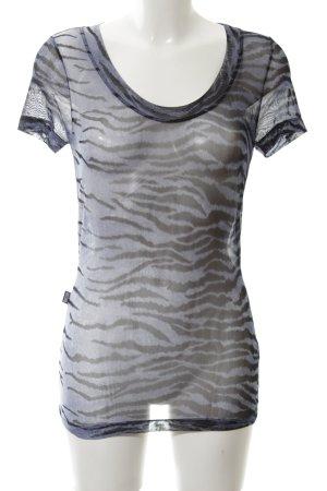 Moschino Jeans T-Shirt schwarz-hellgrau Allover-Druck Casual-Look