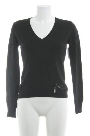 Moschino Jeans V-Ausschnitt-Pullover schwarz Casual-Look