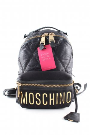 Moschino Kindergarden Backpack black quilting pattern casual look