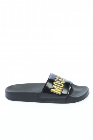 Moschino Comfort Sandals black-gold-colored printed lettering casual look