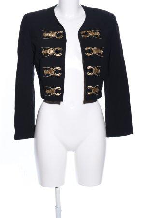 Moschino Kurz-Blazer schwarz-goldfarben Motivdruck Casual-Look