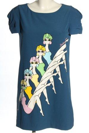 Moschino Kurzarmkleid blau Motivdruck Casual-Look