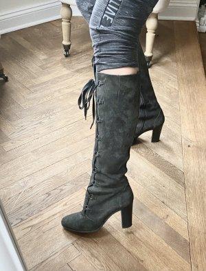 Moschino Leder Stiefeln grau mit absatz Schnürung gr 38
