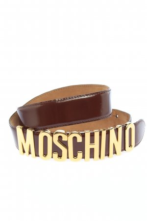 Moschino Leather Belt brown-gold-colored printed lettering casual look