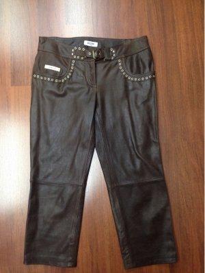 Moschino Jeans Pantalón de cuero color bronce