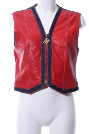 Moschino Leather Vest red-blue casual look