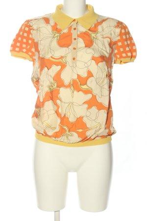 Moschino Polo orange clair-blanc cassé imprimé allover style décontracté