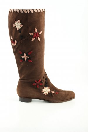 Moschino Jackboots brown flower pattern casual look