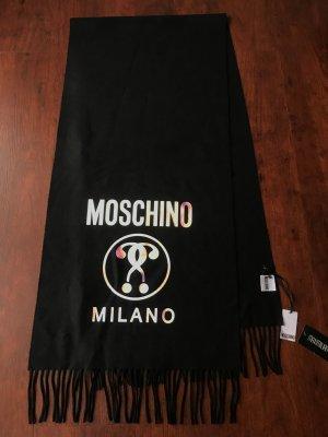 Moschino Schal aus Wolle mit Holographic Logo Druck