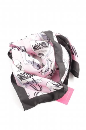 Moschino Seidentuch pink-schwarz Motivdruck Casual-Look