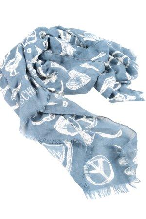 Moschino Chal veraniego azul-blanco estampado temático look casual