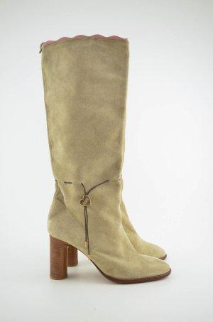 MOSCHINO Stiefel Boots Beige  Absatz 7,5cm Verloursleder Gr.37