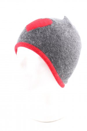 Moschino Strickmütze hellgrau-rot Motivdruck Casual-Look