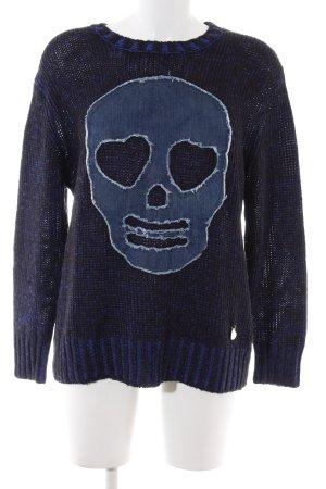 Moschino Strickpullover blau-schwarz meliert Casual-Look