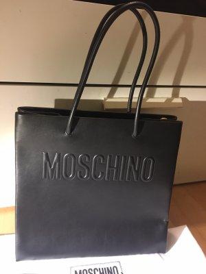Moschino Tasche Shopper Schultertasche schwarz Leder mit Etikett Staubbeutel und Rechnung NEU